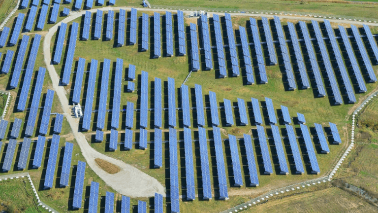 A field of solar panels seen from the air