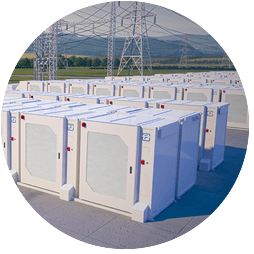 Rows of large battery energy storage